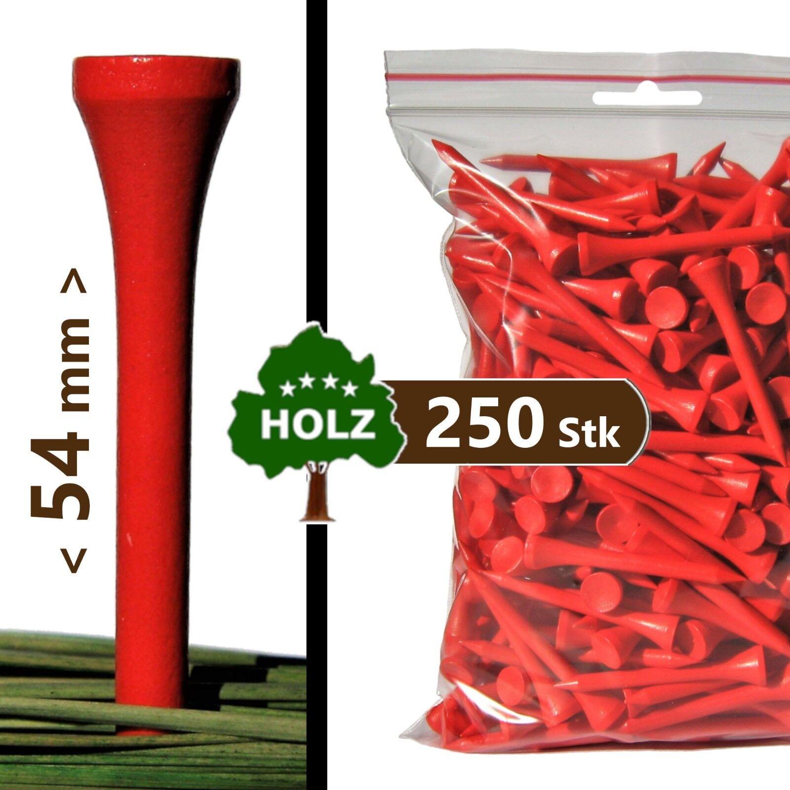 250 x GOLF-TEES: Holz, 54mm (=Standard), rot ... PREMIUM Golftees inkl. Versand