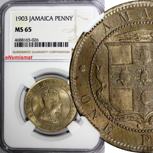Jamaica Edward VII 1903 1 Penny NGC MS65 Mintage-60,000 TOP GRADED BY NGC KM# 20