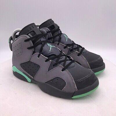 Nike Air Jordan Retro 6 Gray Green Glow 543389-005 Size 3Y Basketball Shoes Kids