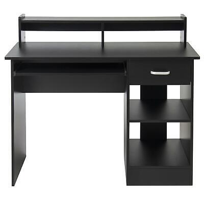 Student Table Dorm Computer Desk Laptop Office Shelving Drawer Furniture Black
