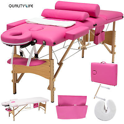"84""L Massage Table 3 Fold Portable Facial SPA Bed 2 Pillows+Cradle+Sheet&Hanger"