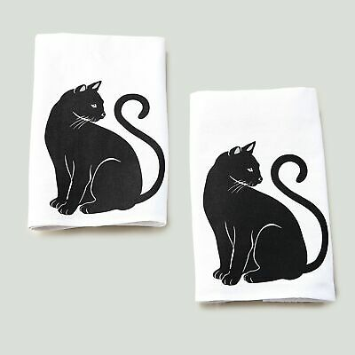 Cat Theme Kitchen and Bathroom Towels for Hands or Dishes - Set of 2