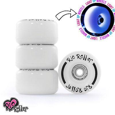 Rio Roller, Light Up Quad Roller Disco Skate Wheels, White Frost