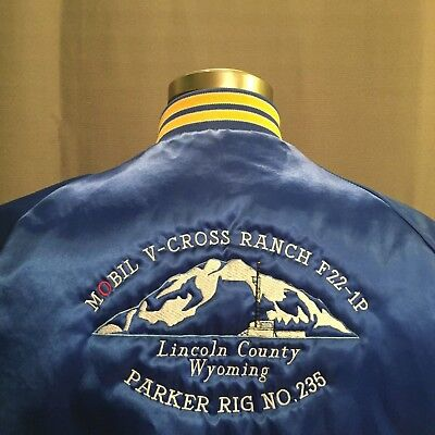 Vtg Oilfield Coat Mobil Company Drilling Rig Wyoming Parker Embroidered Blue Med