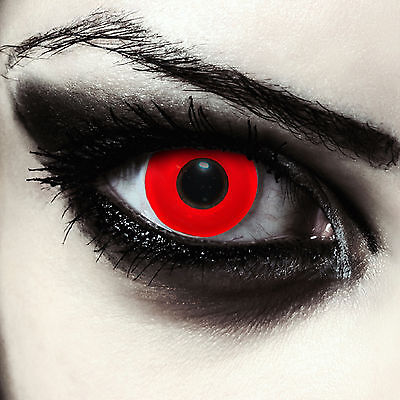 Rote farbige Kontaktlinsen für Halloween Dämonen Vampir Teufel Kostüm: Blood Eye