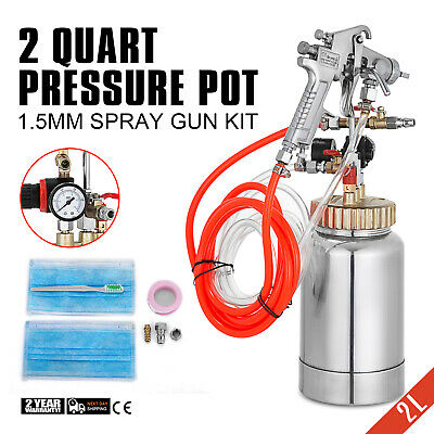 2l2 Quart Pressure Pot With Spray Gun Hose Paint House Painting Air Tools Set