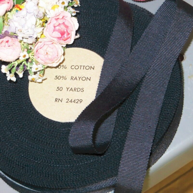 "50y SPOOL 5/8"" RAYON COTTON NAVY GROSGRAIN RIBBON MILLINERY HAT TRIM VTG ANTIQUE"