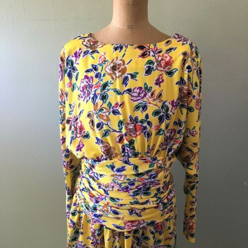 gary lawrence dress 14 yellow floral print vintage long sleeve - size 14
