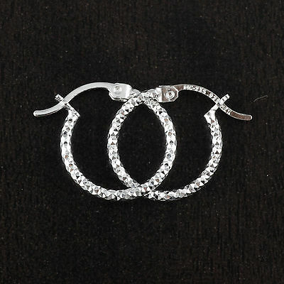 Womens Solid 925 Sterling Silver Diamond-cut 15mm Diameter Hoop Earrings