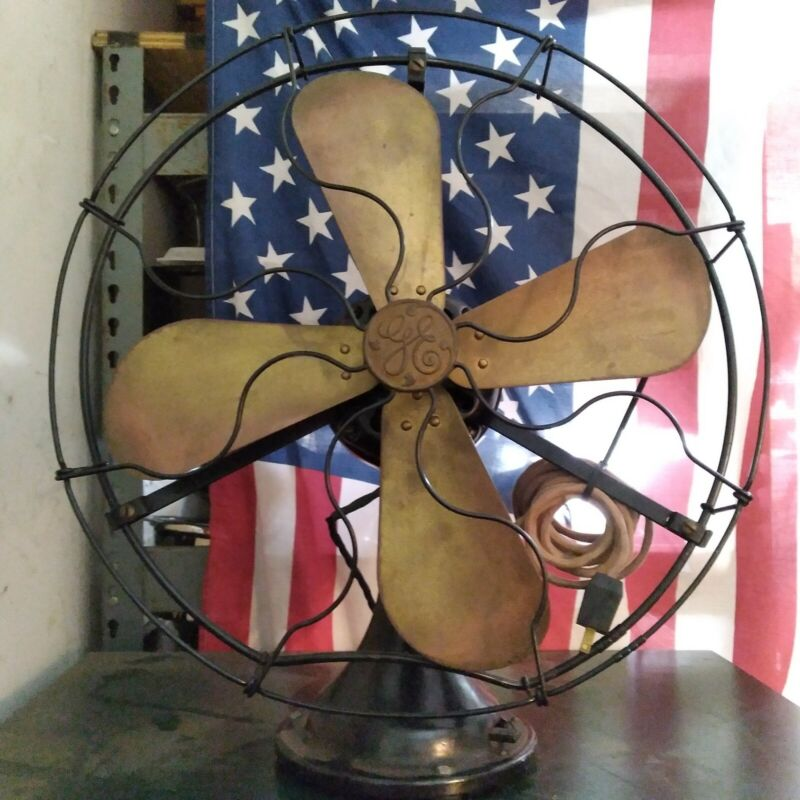 """ANTIQUE GE ELECTRIC 3 SPEED CAGE17.25"""" FAN 1303017 / 34021 WORKS!"""
