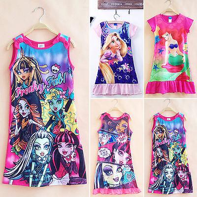 Kinder Mädchen Nacht Kleidung Nachtwäsche Pyjamas Mini Tunika Kleid Freizeit ()