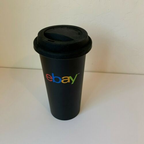 eBay Logo Coffee Cup Mug Insulated Travel Tumbler Black with Lid Ebayana