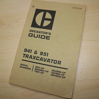 Cat Caterpillar 941 951 Owner Operator Operation Manual Track Loader Crawler