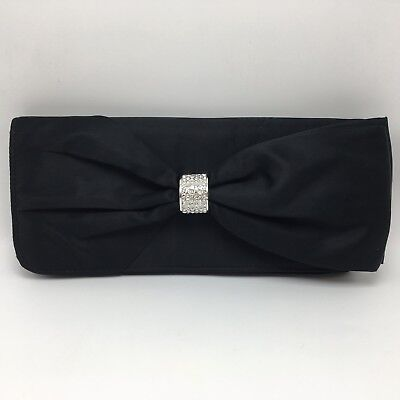 Black Satin Bow Rhinestone Clutch Evening Bag Holiday Party Prom Wedding Strap
