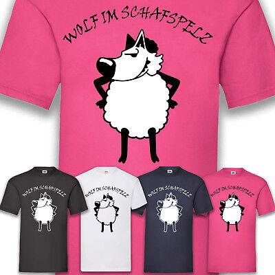 Kostüm Karneval Fasching Wolf im Schafspelz Herren T-Shirt Funshirt Shirt S-5XL