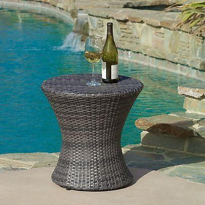 Outdoor Patio Furniture Grey Wicker Side Table