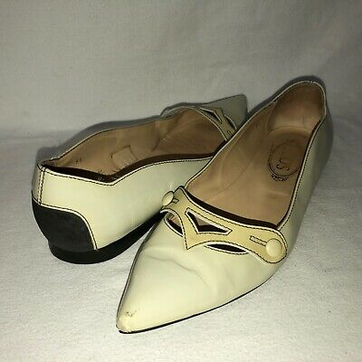 TODS Women's 9.5 Cream Patent Leather Slip On Pointed Toe Dress Flats Shoes
