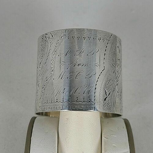 Victorian Sterling Silver Brite Cut Decorated Napkin Ring Dated April 1877 Mono