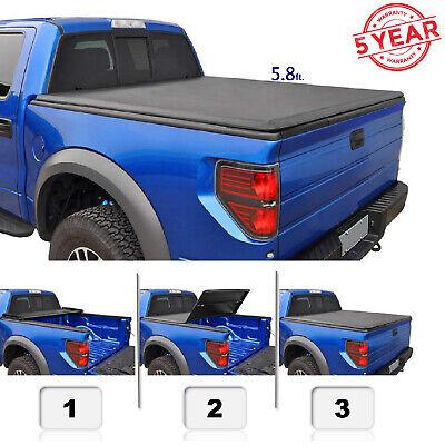 5.8 ft For 07-13 Silverado Sierra 1500 Soft Tri Fold Cover Pickup Truck