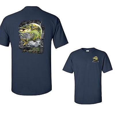 Jumping Muskie Pike Fish Muskellunge Lake River Fishing Tee T Shirt New