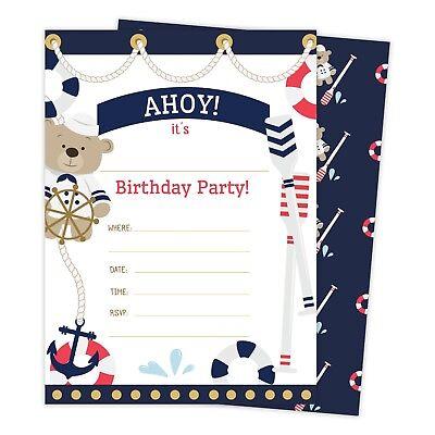 Nautical Birthday Invitations (Nautical Happy Birthday Invitations Invite 25ct w/ Envelopes + Seal)