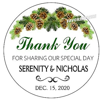 RUSTIC CHRISTMAS PINE CONE WEDDING FAVOR STICKERS THANK YOU LABELS SHOWER ()