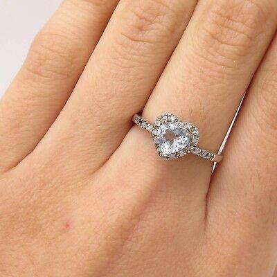 - 925 Sterling Silver Real Diamond Baby Sky Topaz Gem Heart Love Ring Size 7 1/4