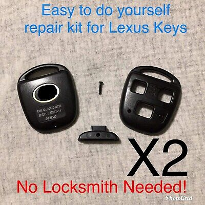 2 New 3 Button Remote Key Fob Repair Kit For Lexus/With Logo A+ Customer Svc!