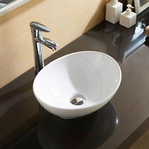 Bathroom Oval Vessel Sink Vanity Basin White Porcelain Ceramic Bowl Pop Up Drain
