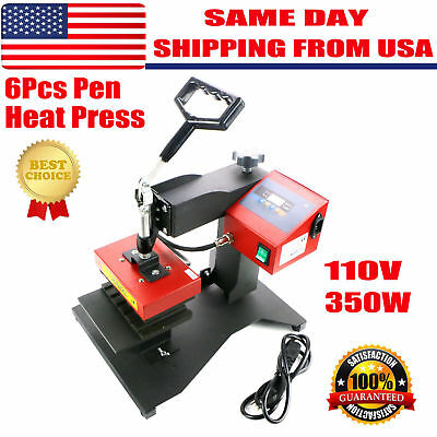6pcs Digital Pen Heat Press Machine For Ball-point Transfer Printing Us 110v Hot