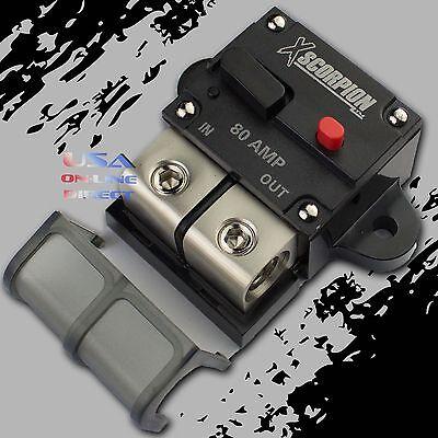 80a Amp Manual Reset Inline Circuit Breaker Platinum Terminal Block Marine Auto