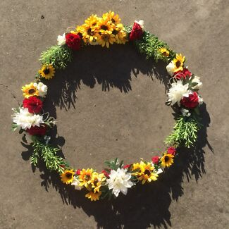 Flower wreath wedding decoration miscellaneous goods gumtree sunflower and maroon burgundy red flower wreath junglespirit Image collections