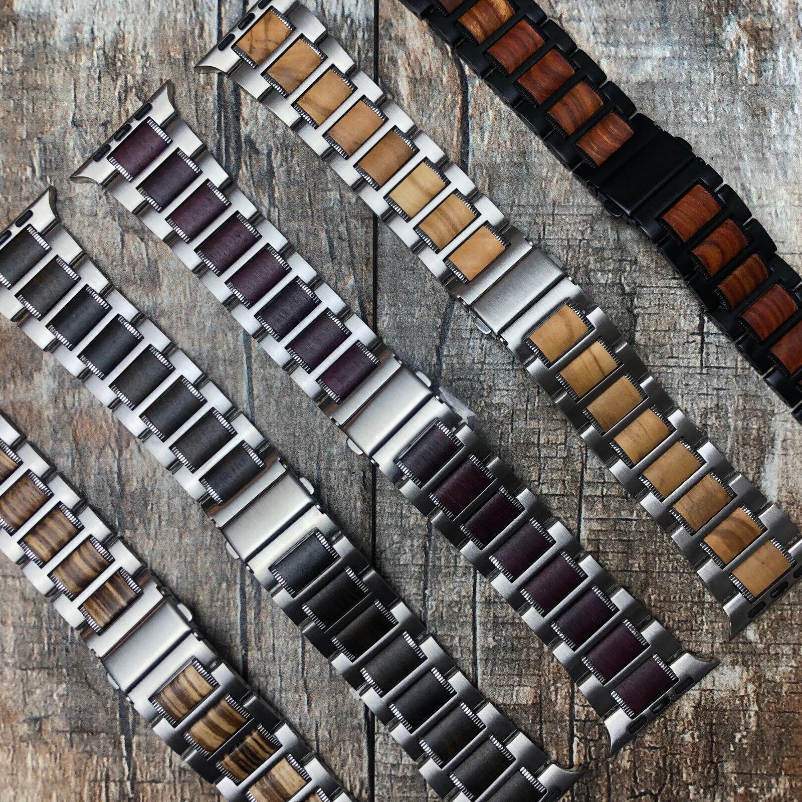 For Apple Watch Series 5 4 44M Stainless Steel Metal + Wood