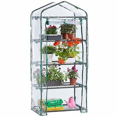 VonHaus 4 Tier Mini Greenhouse PVC Plastic Outdoor Garden Steel Frame Grow House