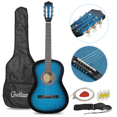 Beginners Acoustic Guitar w/Guitar Case, Strap, Tuner & Pick Steel Strings Blue