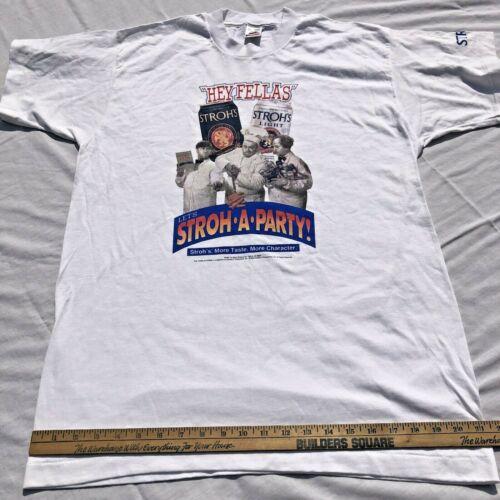 "Vintage Stroh's ""Hey Fellas"" Let's Stroh- A-Party 3 Stooges White T-Shirt Size L"