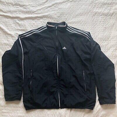 Adidas windbreaker jacket black and white 3 stripes men's large