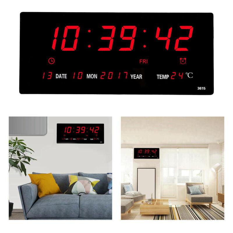 LED Wall Clock Large Digital Clock w/ Temperature Humidity Calendar Display