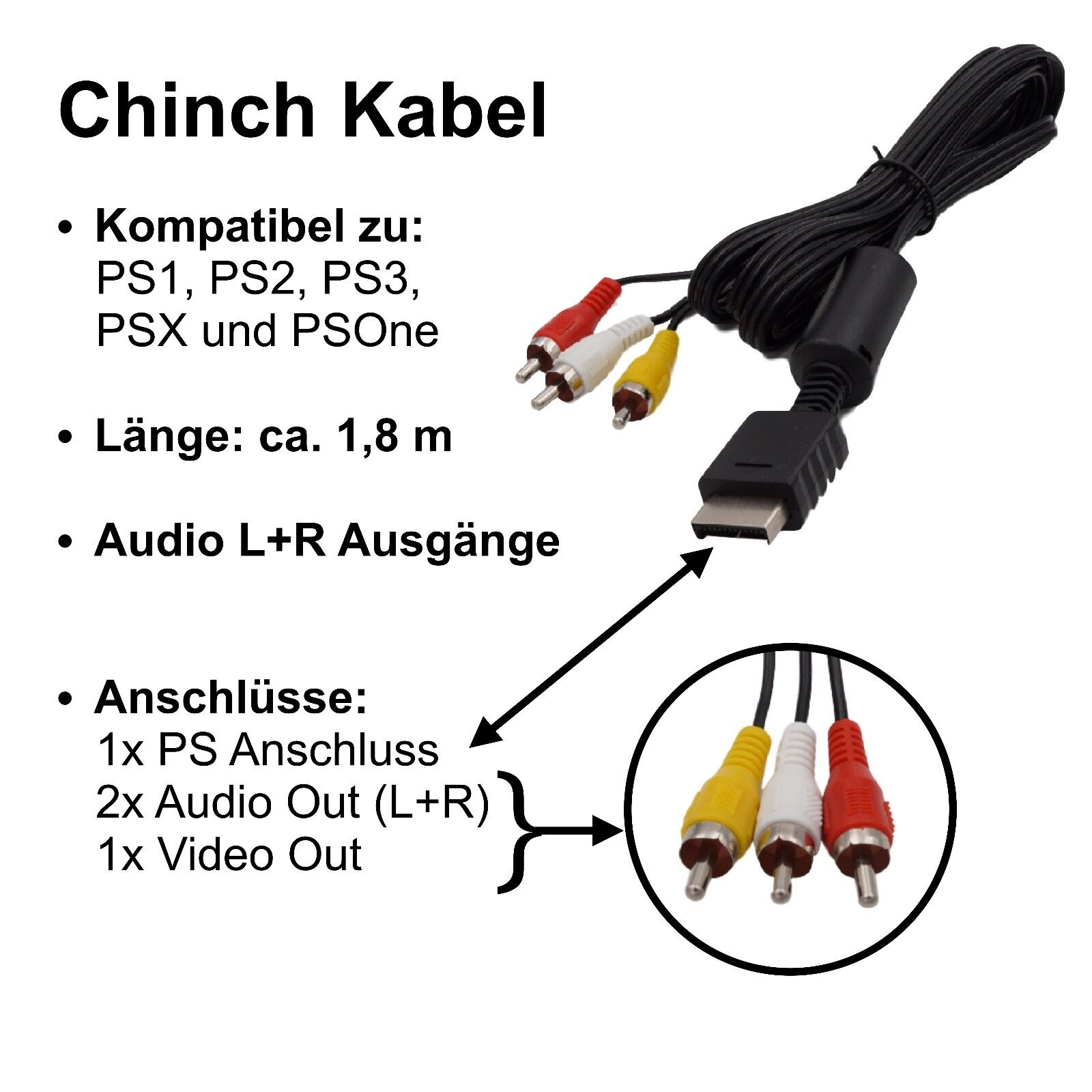 AV TV Kabel für Sony Playstation PS1 PS2 PS3 Chinch Audio Video Kabel schwarz