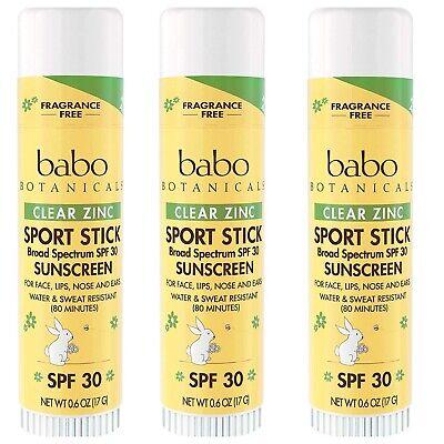 3 Pack - Babo Botanicals SPF 30 Clear Zinc Sport Sunscreen Stick 0.6 Oz ea. Face