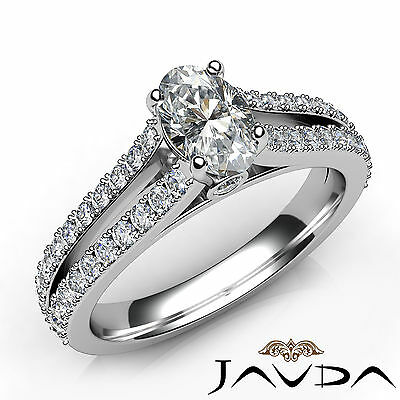French Pave Set Split Shank Oval Diamond Engagement Bezel Ring GIA F VS2 1.15 Ct