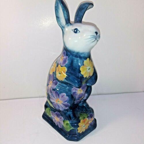RARE COLOR Andrea by Sadek Hand Paint Porcelain Blue Bunny Purple Yellow Flowers