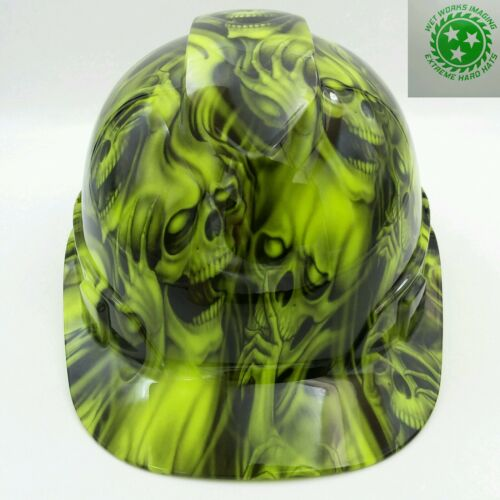 Hard Hat custom hydro dipped , OSHA approved see,hear no evil SKULLS, NEW !!