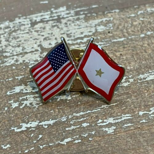 Gold Star Family Service Star Flag Crossed with U.S.A. Flag Pin - Made in USA