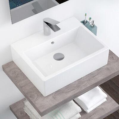 Lavandino lavabo bagno da appoggio cm 53 x 41 bianco in ceramica monoforo arredo