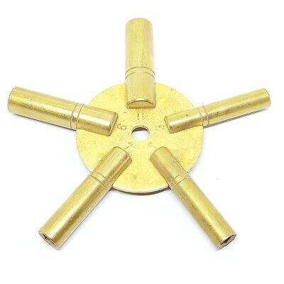 Clock Winding Key Brass Odd 5 Sizes 3, 5, 7, 9, 11 Brass Spider Antique Clock Key
