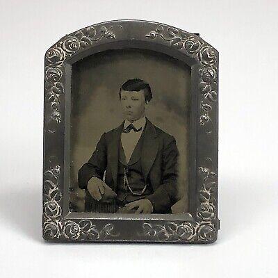 Antique Original Cabinet Portrait Photograph Large Vintage Men photograph in cardboard frame 1920-30s