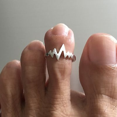 Sterling Silver Heartbeat Toe Ring, Adjustable
