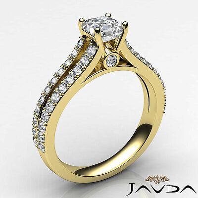 Asscher Shape Diamond Engagement Prong Set Ring GIA Certified F Color VS2 1.15Ct 1