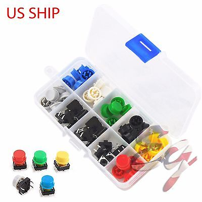 Tactile Push Button Switch Momentary Tact Cap 12x12x7.3mm Keycaps Assorted Kit